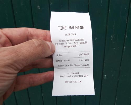 Time Maschine. Quittung über 10 Sekunden angehaltene Zeit