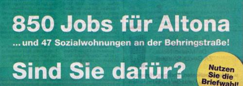 Jobs für Altona. Flugblatt der Procom