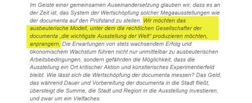 """Documenta als """"ausbeuterisches Modell"""", HNA vom 14.9. 2017"""