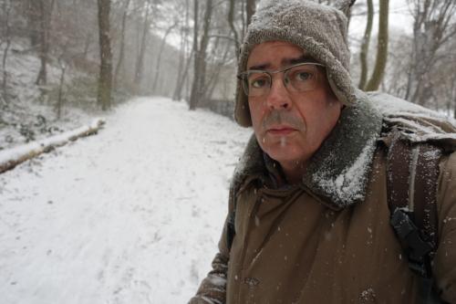 Selbst im Schnee am Elbufer