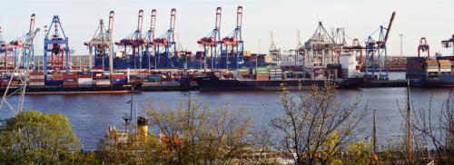 Panorama Hafen von Hamburg-Neumühlen, 21.4. 2018
