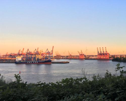 Hafen im Sonnenuntergang. Blick vom Schulberg.
