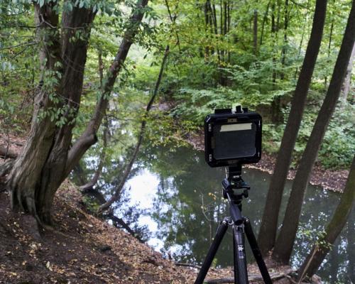 4x5 Kamera am Abhang des Billetals aufgestellt
