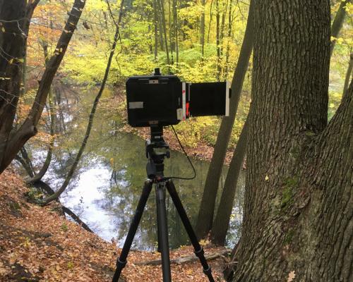 Mit der 4x5 Kamera an der Bille bei Aumühle