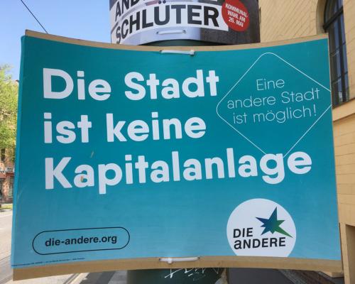 Wahlkampfplakat in Potsdam Die Stadt ist keine Kapitalanlage